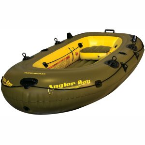 Airhead Angler Bay 4 Person Inflatable Fishing Boat Lake Pond Raft Float